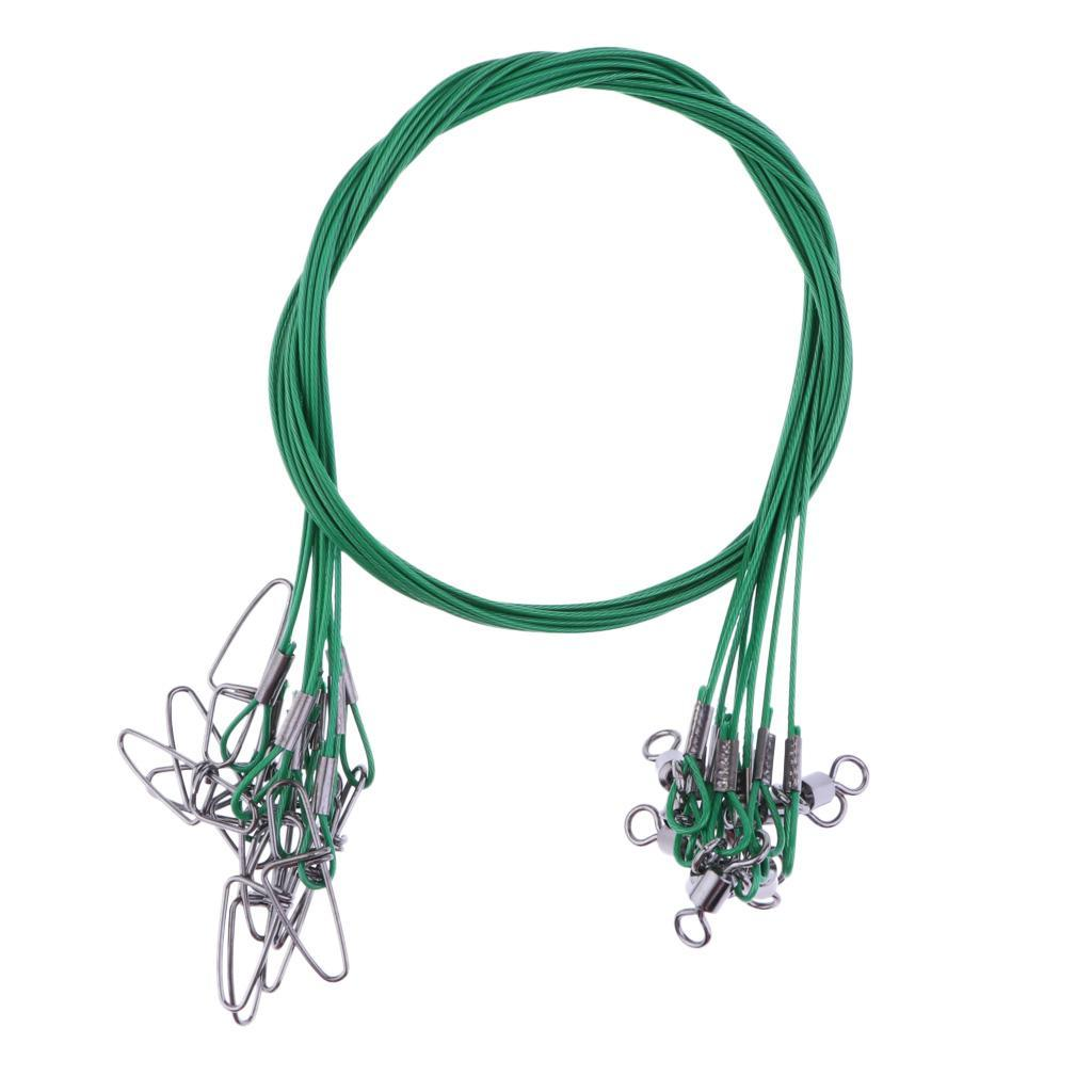 20pcs//lot 50cm Fishing Line Steel Wire Lures Leader Trace with Swivel /& Snap