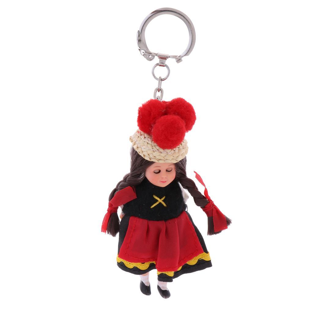 3inch Vintage Nationality Ethnic Clothes Dolls in Gown with Hat Souvenirs