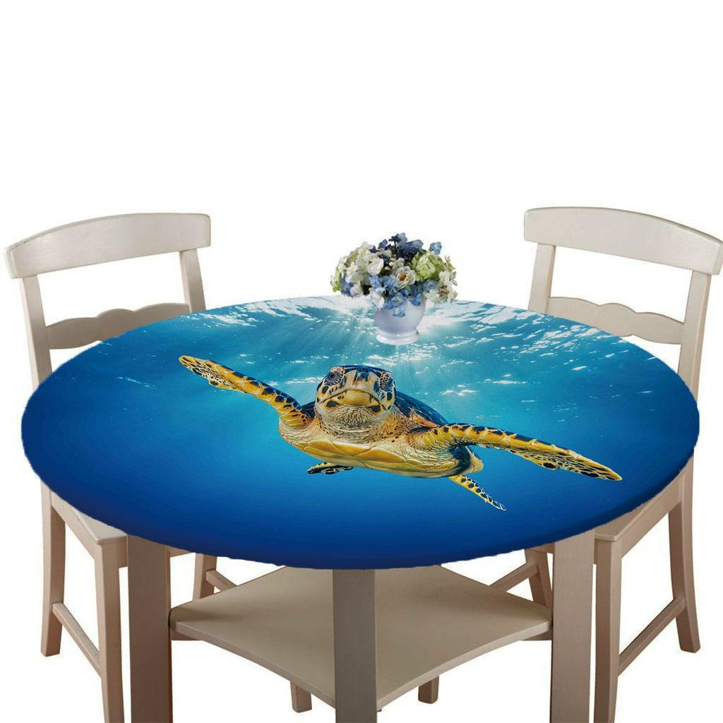 Elastic Edged Round Table Cover Dining Table Cloth Waterproof ~140cm Dia