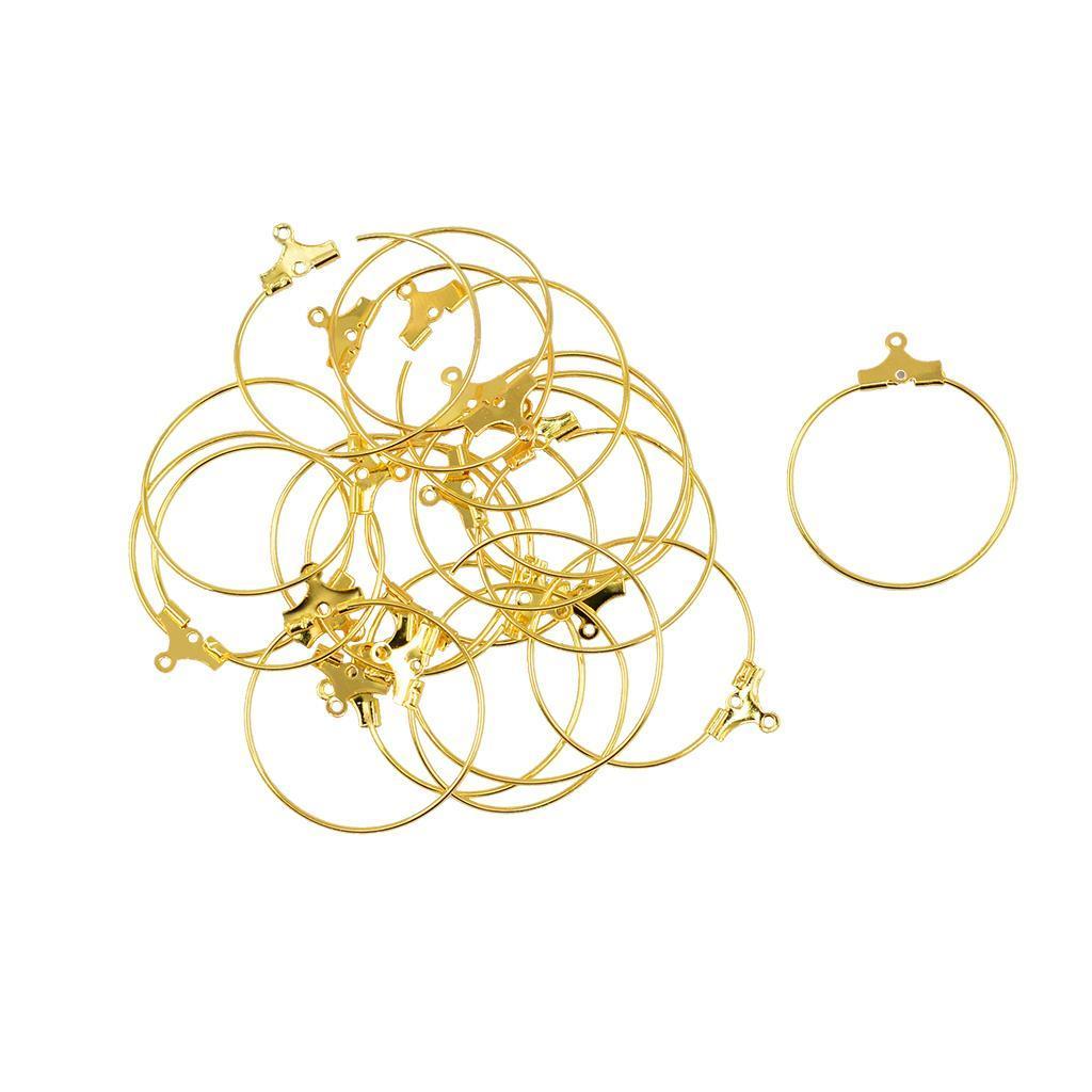 Blesiya 20Pcs Copper Round Beading Hoop Earring Hook Connectors DIY Findings