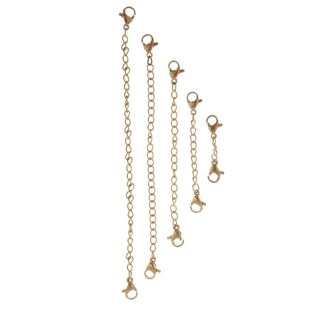 5Pcs//set 30-120mm Stainless Steel DIY Necklace Bracelet Extender Chains