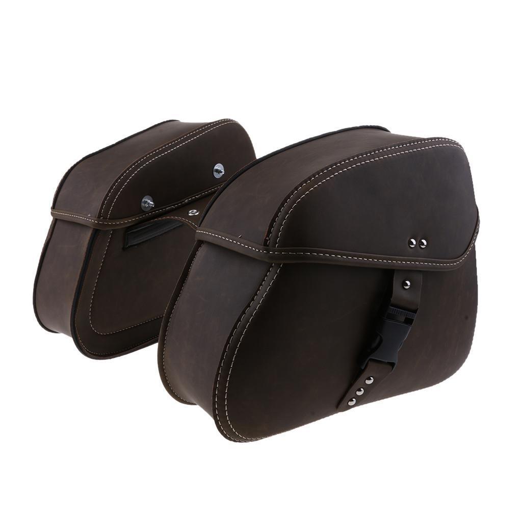 Motorbike Motorcycle Leather Luggage Sissy Saddle Bag Pannier Side Tools Box