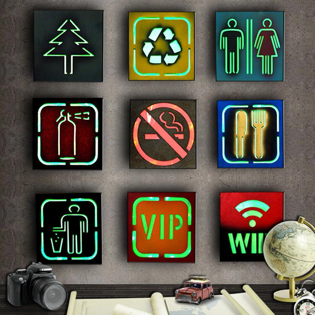 Various Vintage LED Lights Retro Metal Signs Coffee Shop Cafe Wall Decor