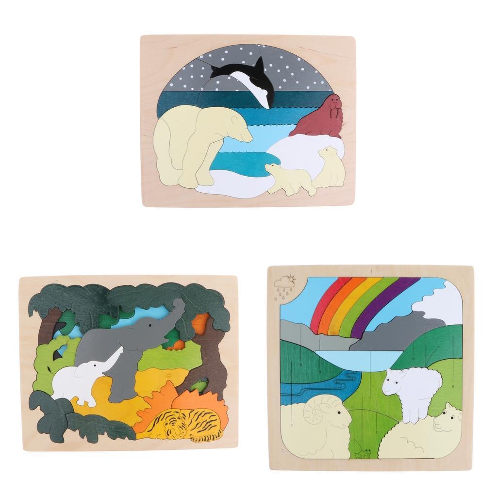 3 Set puzzle educativi in legno multistrato per bambini Giocattoli