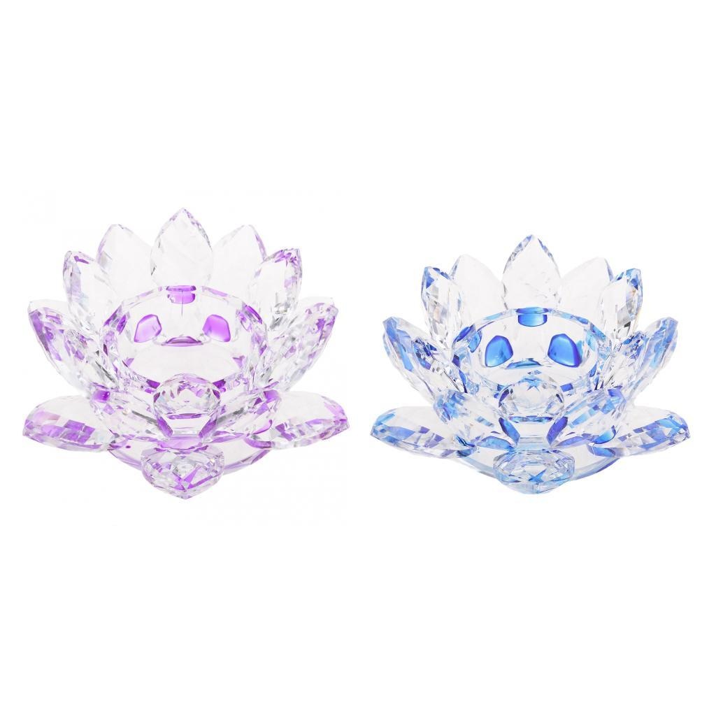 2Pcs-Buddhist-Crystal-Glass-Lotus-Candle-Holder-Decor-12x5cm-Home-Decoration thumbnail 11