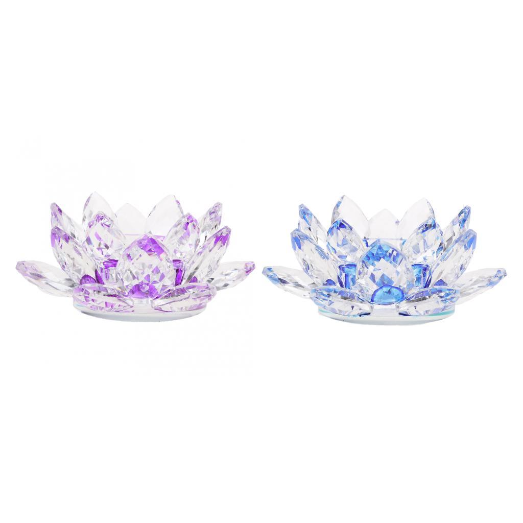 2Pcs-Buddhist-Crystal-Glass-Lotus-Candle-Holder-Decor-12x5cm-Home-Decoration thumbnail 12