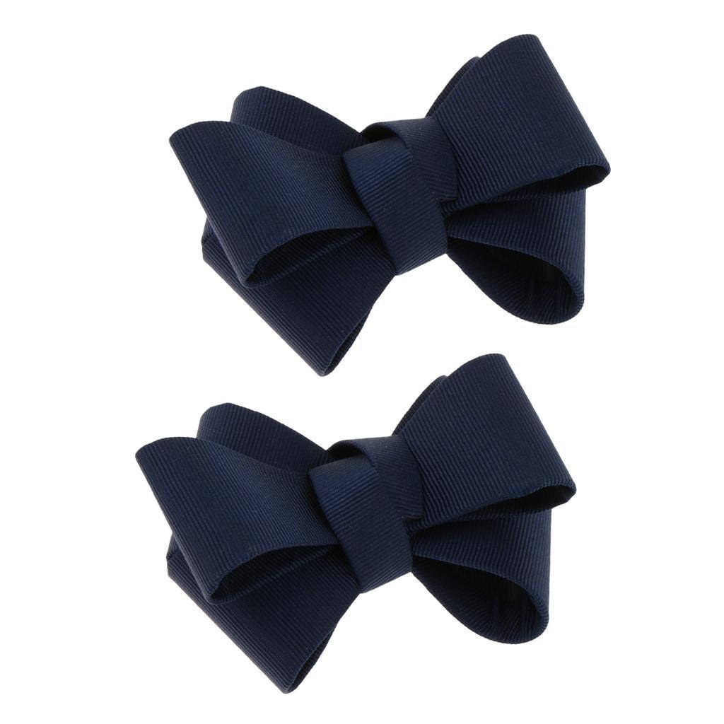 DIY Ribbon Bow Bowknot Shoe Clip Charm Buckle Removable Decoration Dark Blue