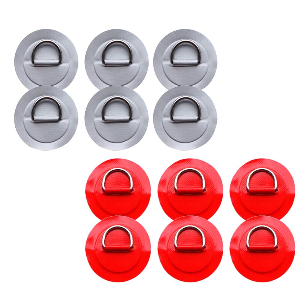 12-Pezzi-in-Acciaio-D-Ring-Pad-Patch-per-PVC-Gommone-Barca-Gonfiabile miniatura 16