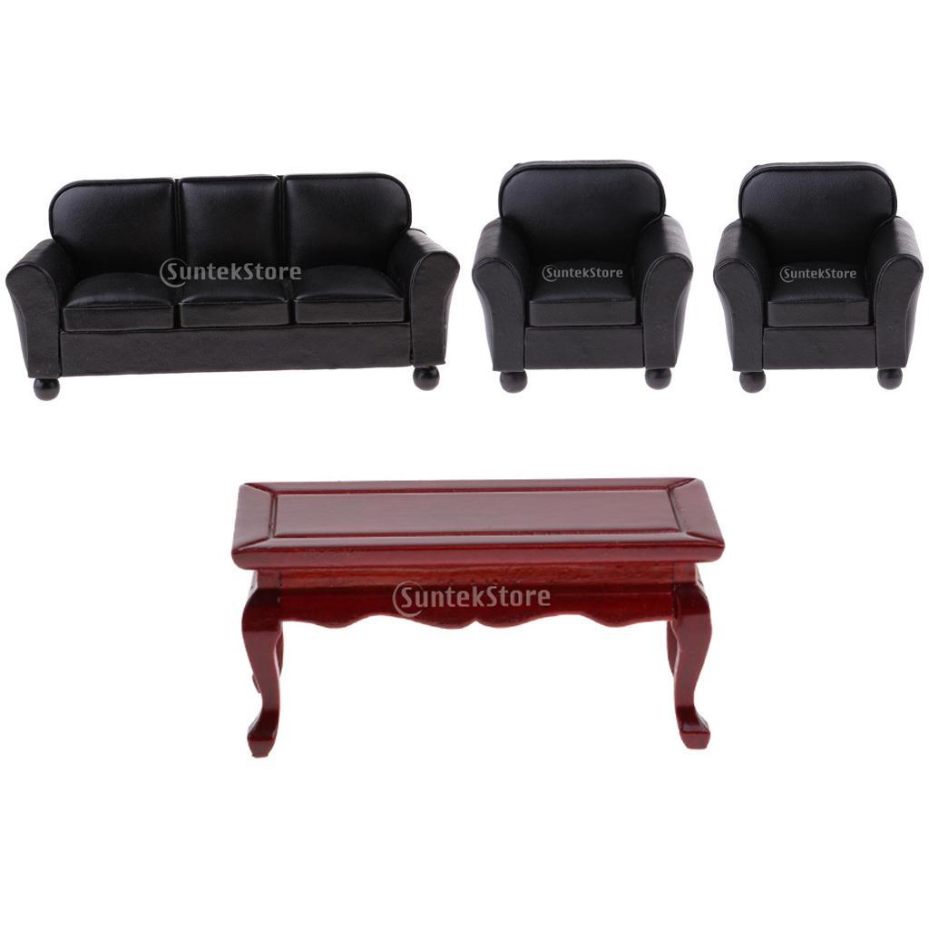 DIVANO in  Pelle Retrò con in miniatura divano tavolo set di mobili per casa di bambole 1 12  negozio online