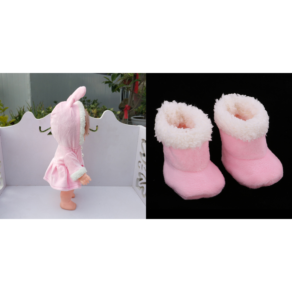 MagiDeal Lovely Plush Pink Coat, Snow Boots for Mellchan 9-11inch Baby Doll