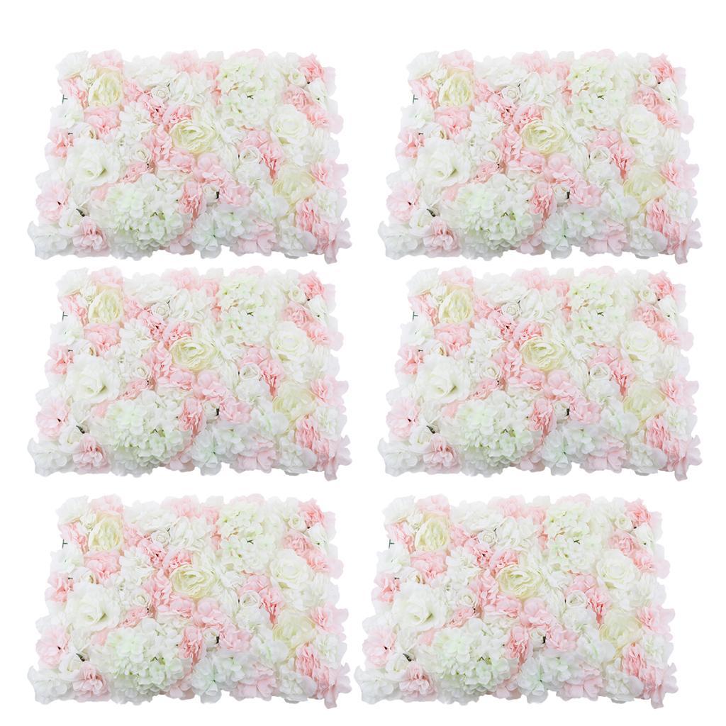 6 xsilk Faux Fleur Mur Panneau Mariage Venue mural VITRINE DECOR ROSE