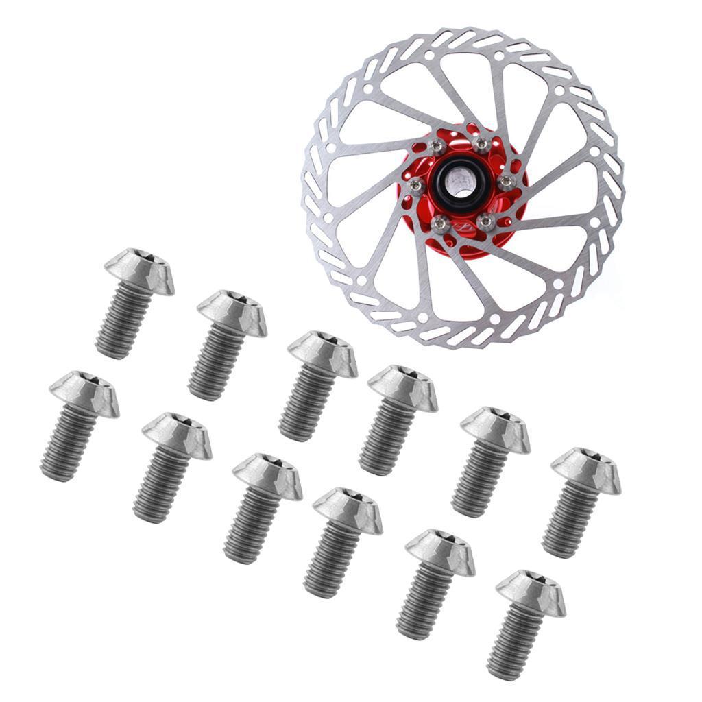 12pcs MTB Bicycle Steel Alloy T25 Torx M5x10mm Disc Brake Rotor Screw Bolts Part