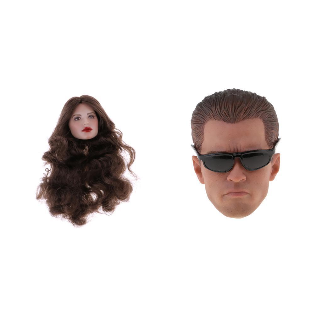 1 6 belle tête masculine + 1 6 charmante tête féminine sculptée pour la