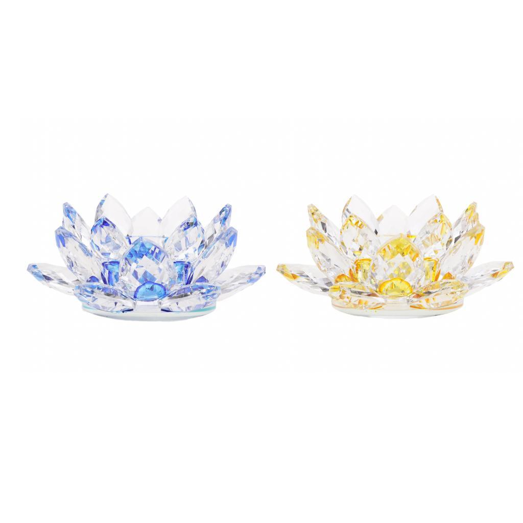 2Pcs-Buddhist-Crystal-Glass-Lotus-Candle-Holder-Decor-12x5cm-Home-Decoration thumbnail 5