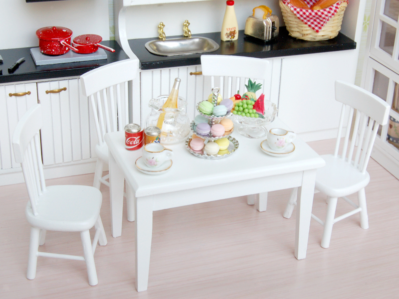 1:12 Dollhouse Miniature Dining Table Chairs Set Garden ...