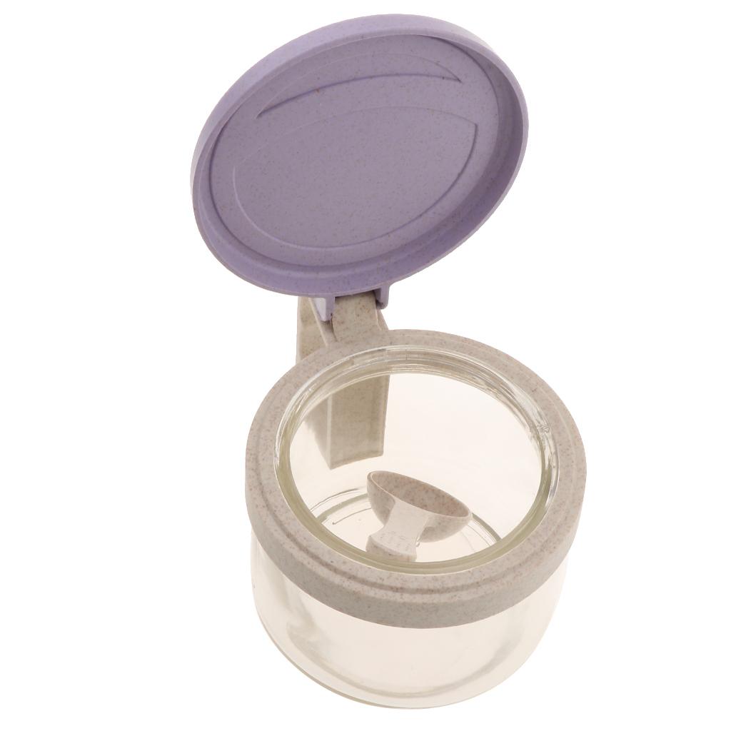 Wheat-Straw-Salt-Bowl-Condiment-Pot-Seasoning-Dispenser-Spice-Jar-with-Spoon miniature 5