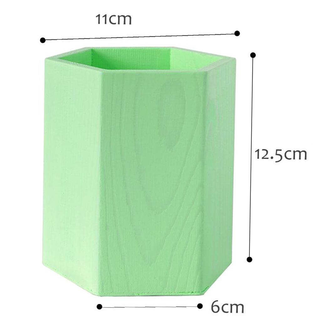 DIY Wood Pen Container Brush Pot Storage Box Table Decor Ornament