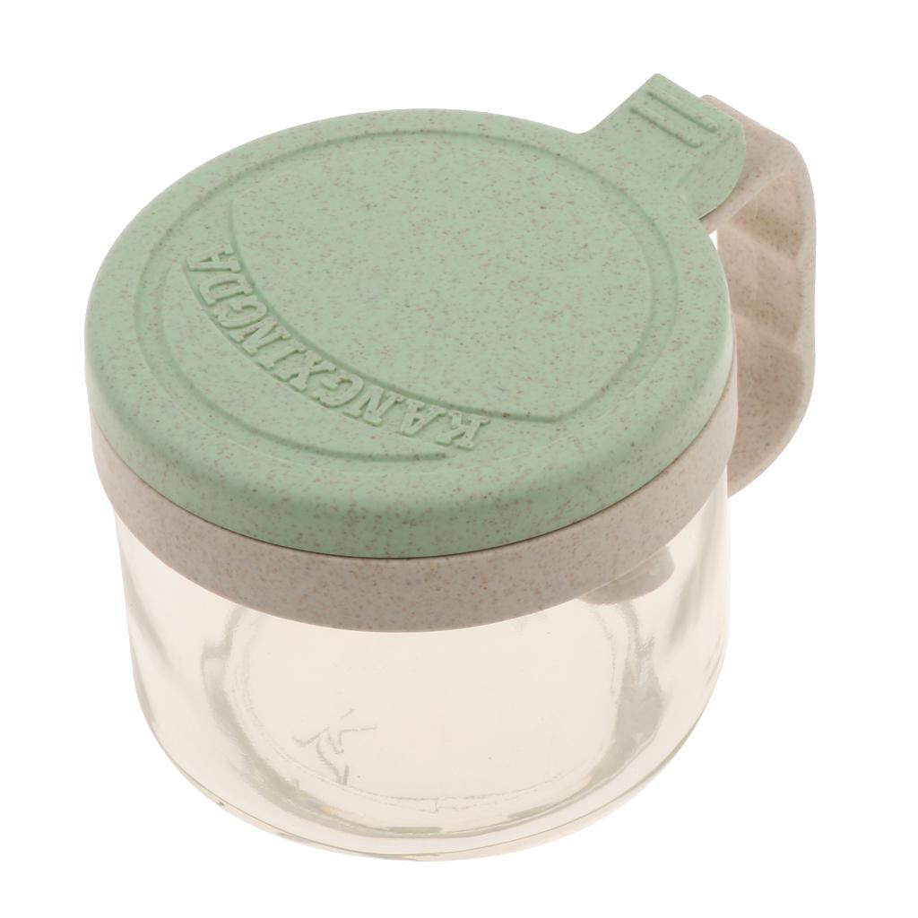 Wheat-Straw-Salt-Bowl-Condiment-Pot-Seasoning-Dispenser-Spice-Jar-with-Spoon miniature 15