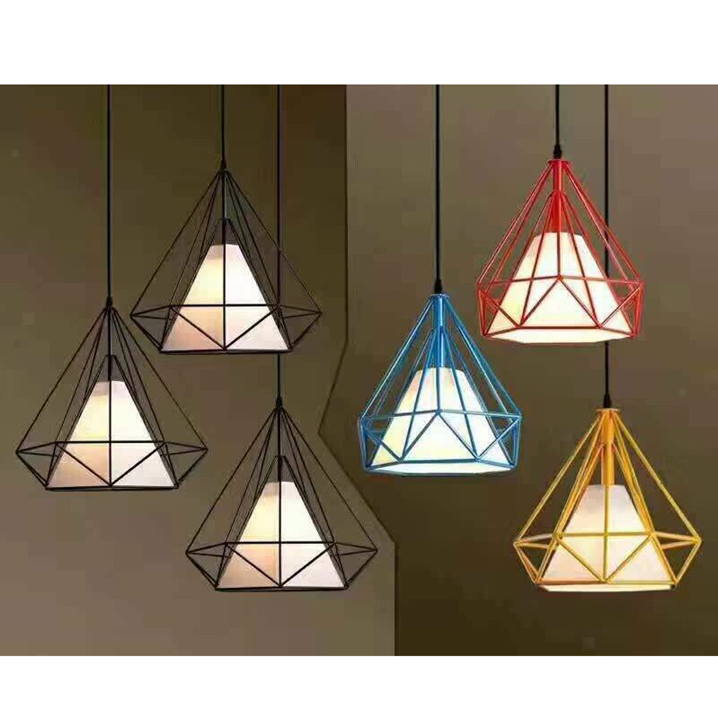 Modern-Geometric-Diamond-Caged-Ceiling-Pendant-Light-Shade-Easy-Fit-Lampshade thumbnail 15