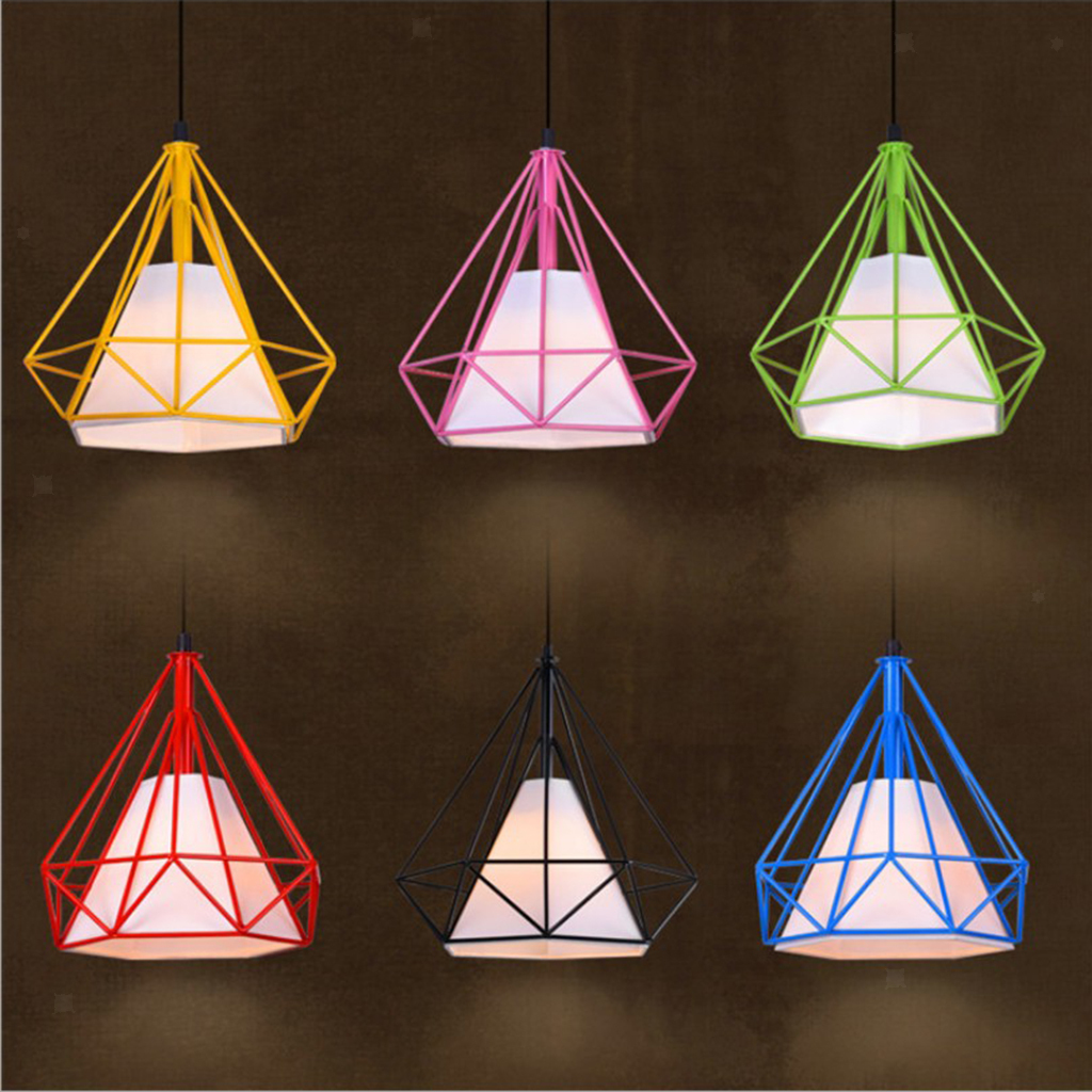 Modern Geometric Diamond Caged Ceiling Pendant Light Shade ...