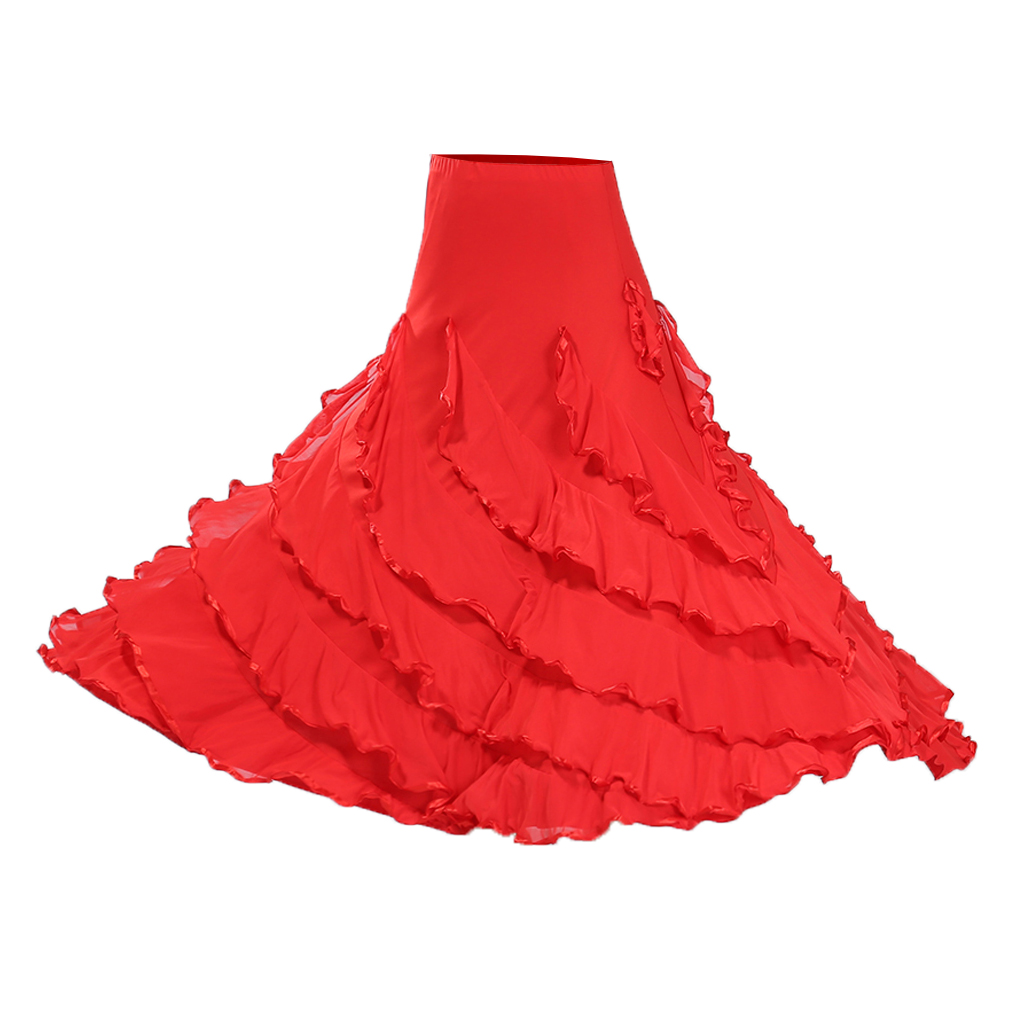 Jupe Flamenco de Danse flamenca Gitane andalouse Noir//Rouge Adulte