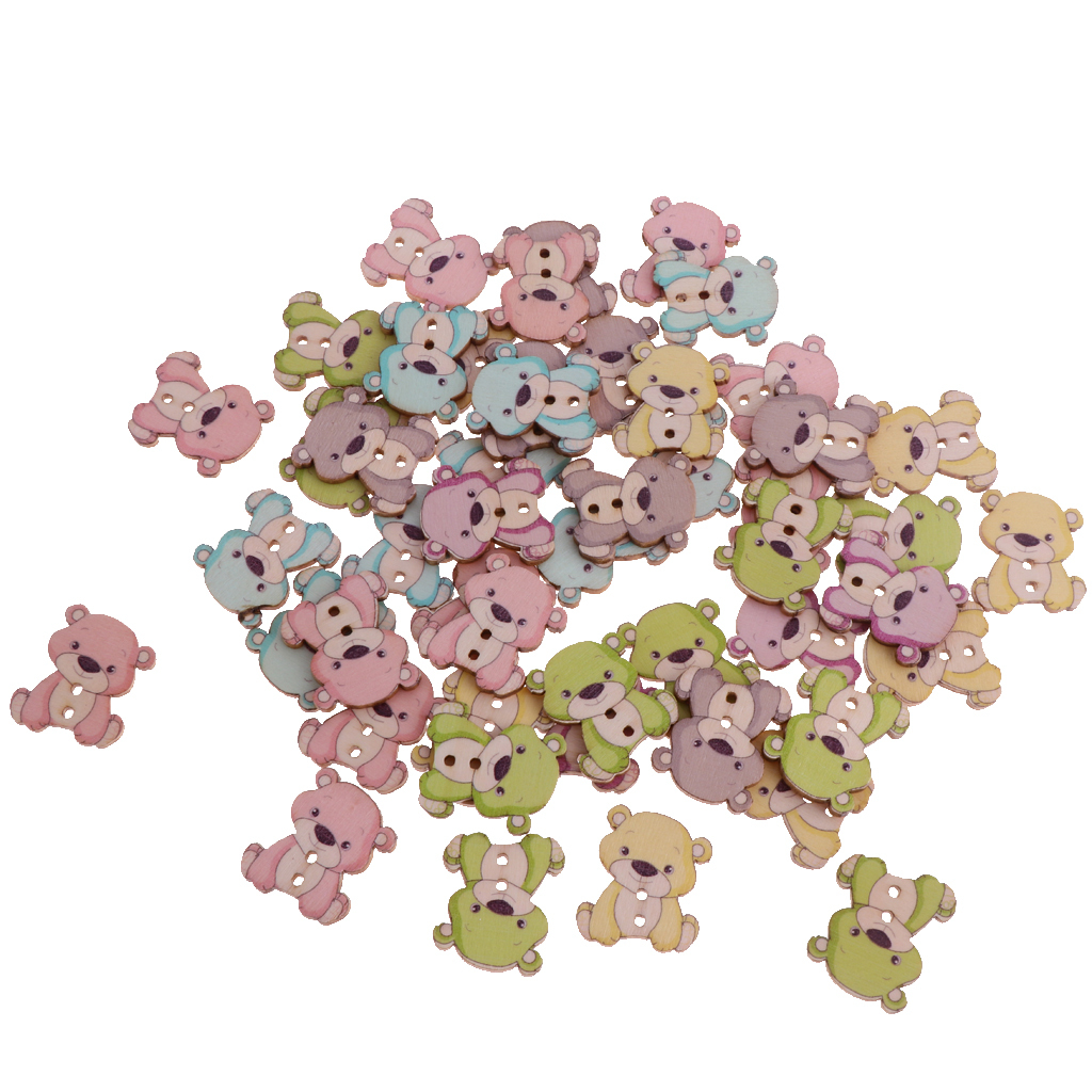 50pcs-Wooden-Buttons-2-hole-Cartoon-Animal-Buttons-for-DIY-Sewing-Scrapbooking thumbnail 27