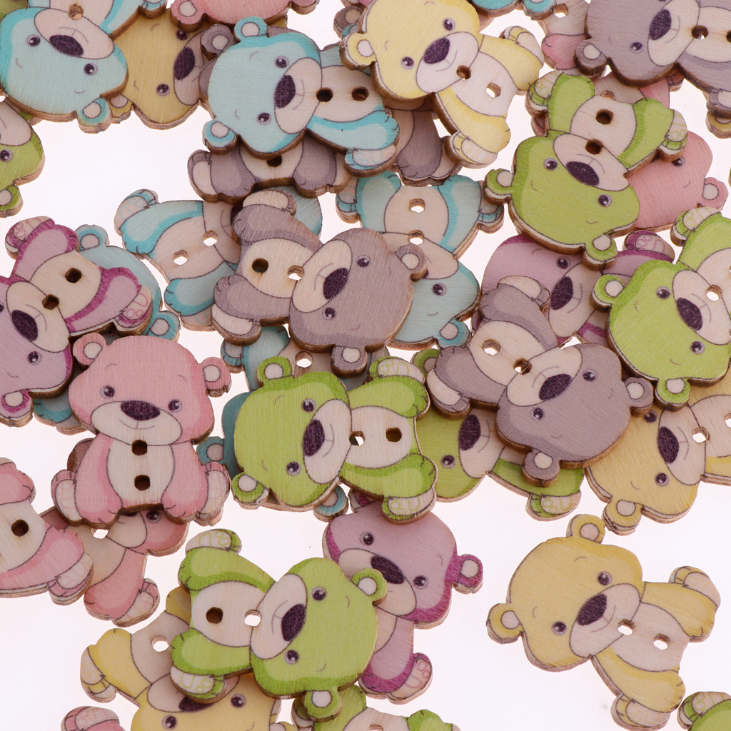50pcs-Wooden-Buttons-2-hole-Cartoon-Animal-Buttons-for-DIY-Sewing-Scrapbooking thumbnail 28