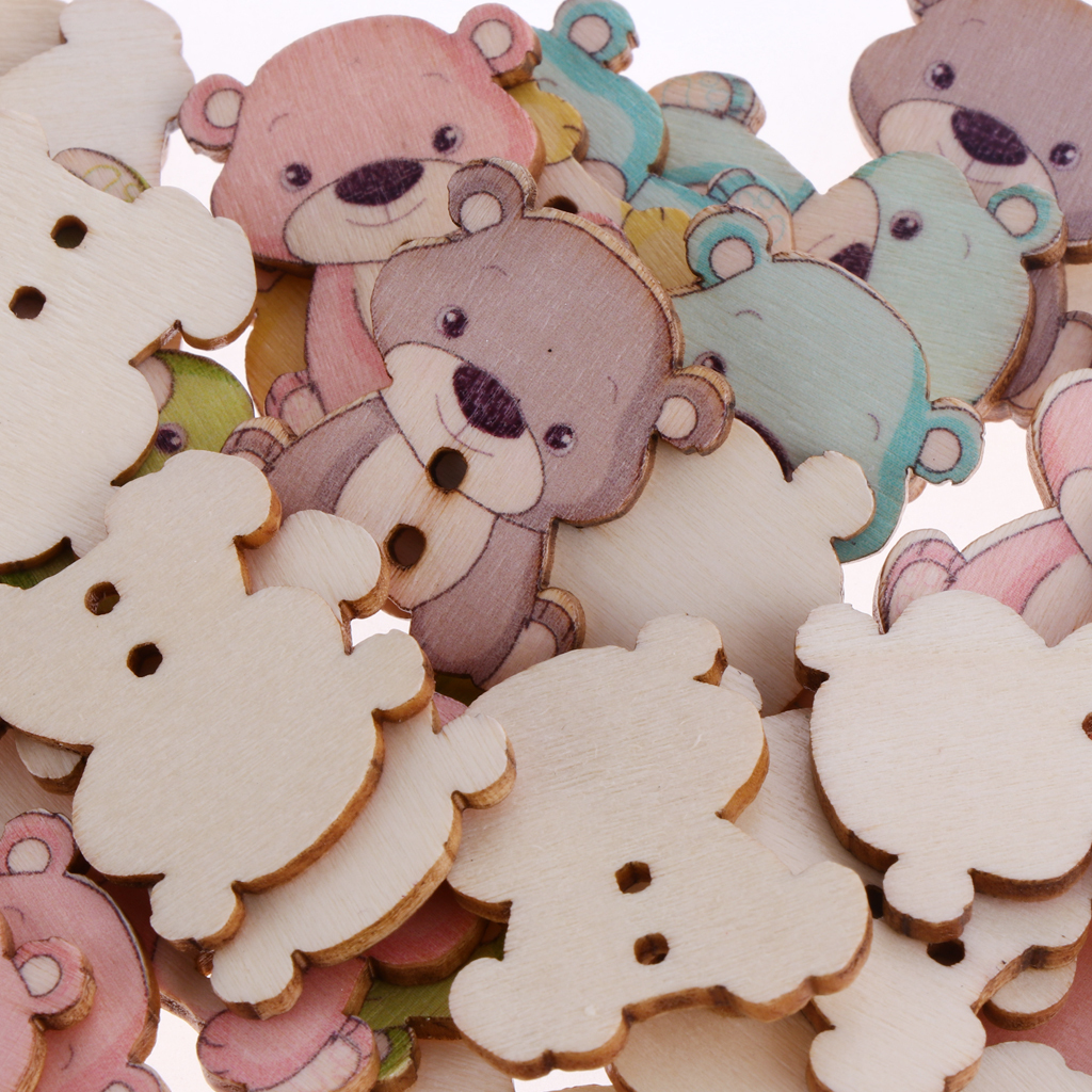 50pcs-Wooden-Buttons-2-hole-Cartoon-Animal-Buttons-for-DIY-Sewing-Scrapbooking thumbnail 23