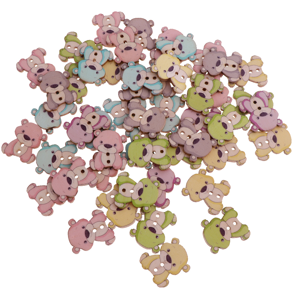 50pcs-Wooden-Buttons-2-hole-Cartoon-Animal-Buttons-for-DIY-Sewing-Scrapbooking thumbnail 24