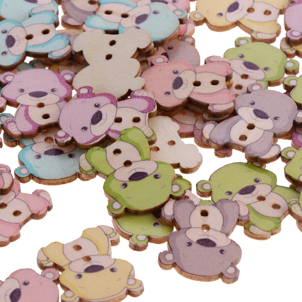50pcs-Wooden-Buttons-2-hole-Cartoon-Animal-Buttons-for-DIY-Sewing-Scrapbooking thumbnail 25
