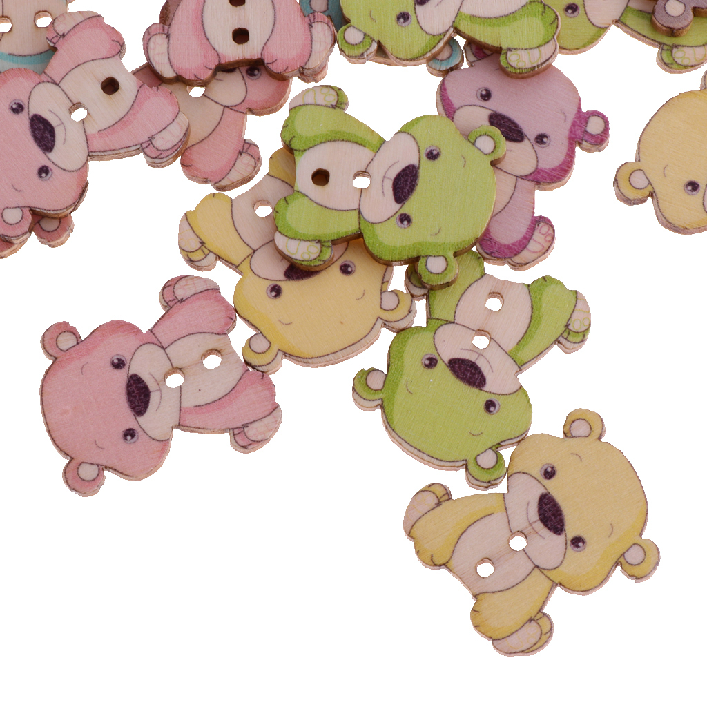 50pcs-Wooden-Buttons-2-hole-Cartoon-Animal-Buttons-for-DIY-Sewing-Scrapbooking thumbnail 26