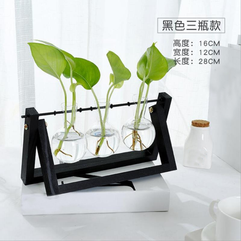 Tabletop-Hydroponic-Flower-Vase-Stands-Decorative-Wooden-Tray-with-1-2-3-Beakers thumbnail 84