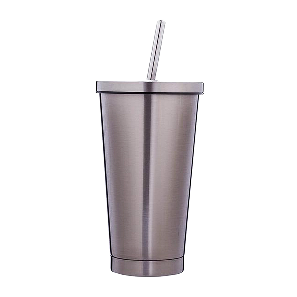 Details about Stainless Steel Smoothie Tumbler with Straw Juice & Iced Coffee Travel Cup