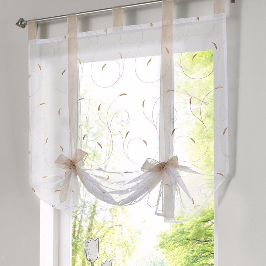 Elegant Embroidery Curtains, Adjustable Tie-Up Shades,1