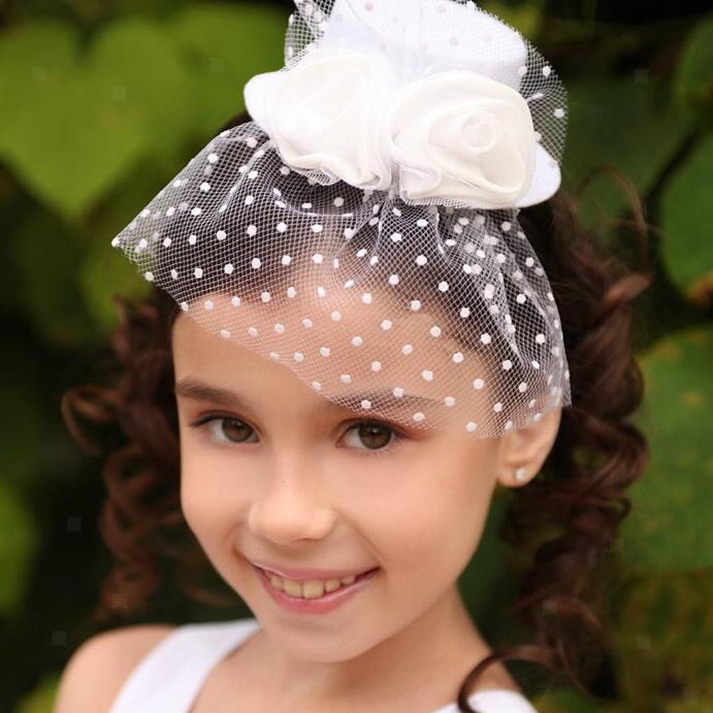 Kid-Girl-Flower-Hair-Clip-Veil-Feather-Mini-Top-Hat-Fascinator-Fancy-Party-Dress thumbnail 18