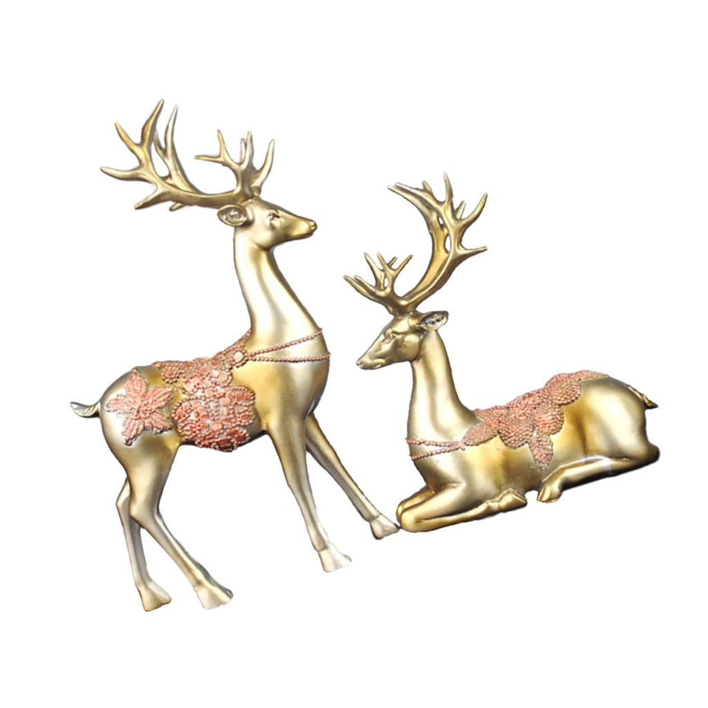 Couple Elk Deer Figurines Sculpture Statue Art Craft