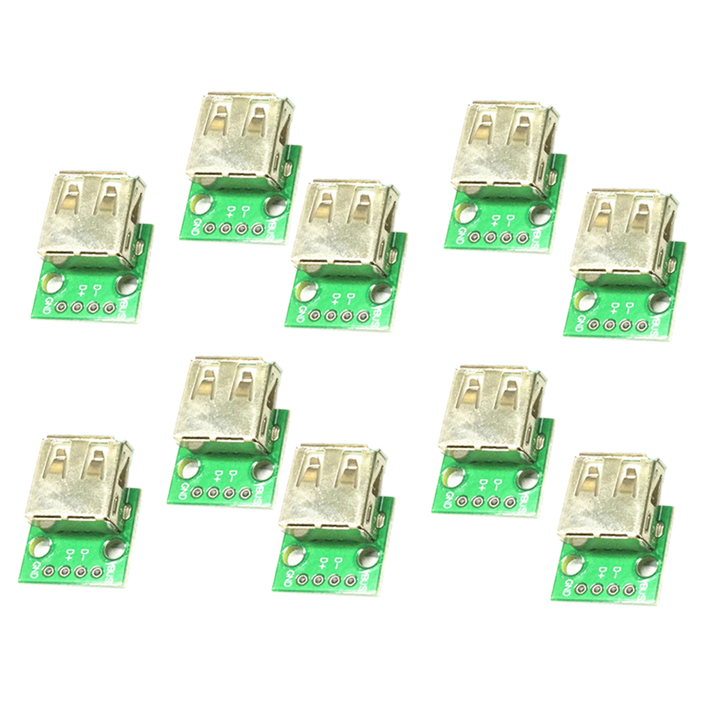 10 Piece USB 2. 0 Head To DIP Angle Plug 4P Inline Female Socket Connector