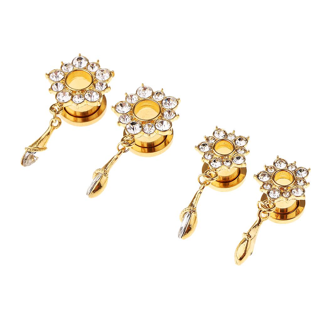 In-acciaio-inox-elegante-strass-fiore-orecchio-tunnel-ciondoli-calibri miniatura 8