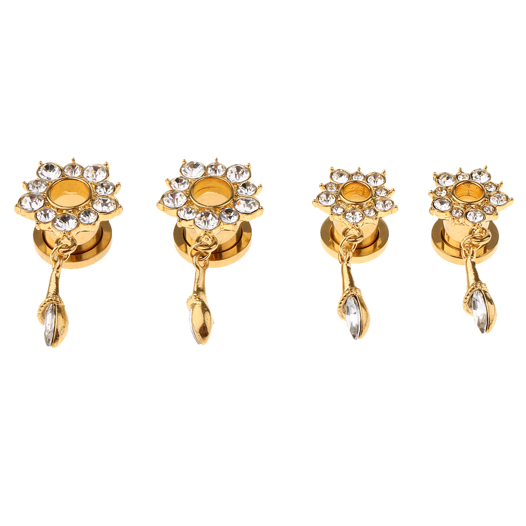 In-acciaio-inox-elegante-strass-fiore-orecchio-tunnel-ciondoli-calibri miniatura 9