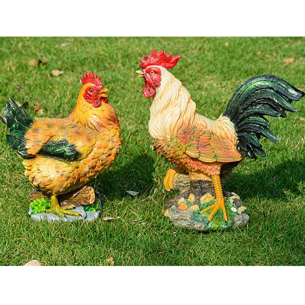 Outdoor Resin Animals Statue Chicken Family Ornament ...