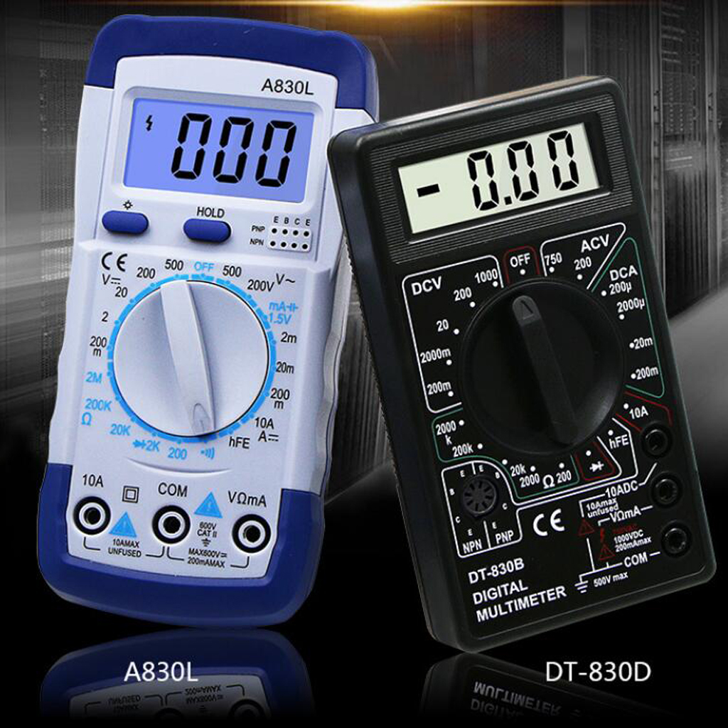 DT-830B Digital Multimeter LCD Display with AC/DC Current Voltage Resistance and Diode Tester