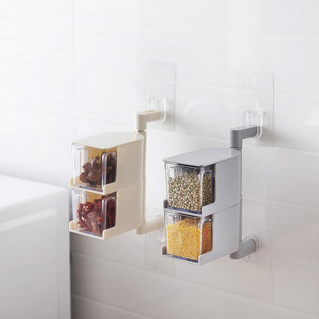 Rotatable-Self-Adhesive-Spice-Cruets-Rack-Seasoning-Container-Wall-Mounted thumbnail 3