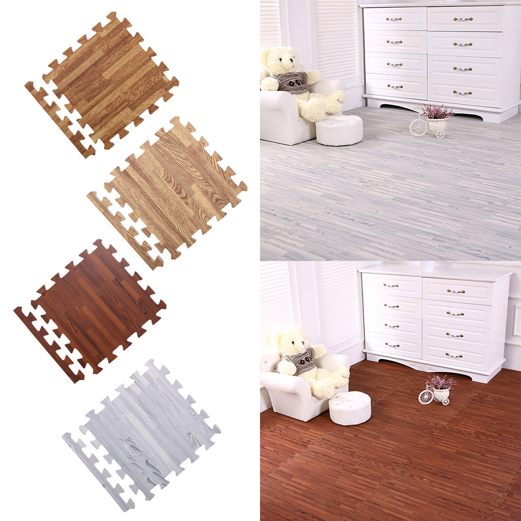 Wood Floor Padding Wood Foam Floor: 9Pcs Wood Grain Effect Floor Tiles Mats Foam Flooring Gym