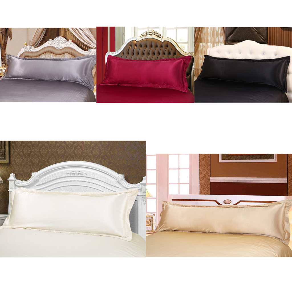 thumbnail 4 - Solid Color Luxury Silk Body Full Long Pillow Pillow Case Cover Pillowcase
