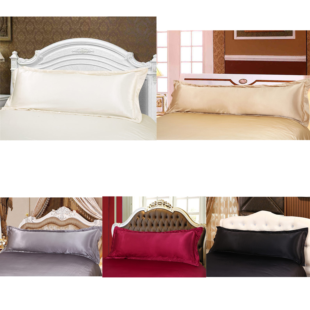 thumbnail 3 - Solid Color Luxury Silk Body Full Long Pillow Pillow Case Cover Pillowcase