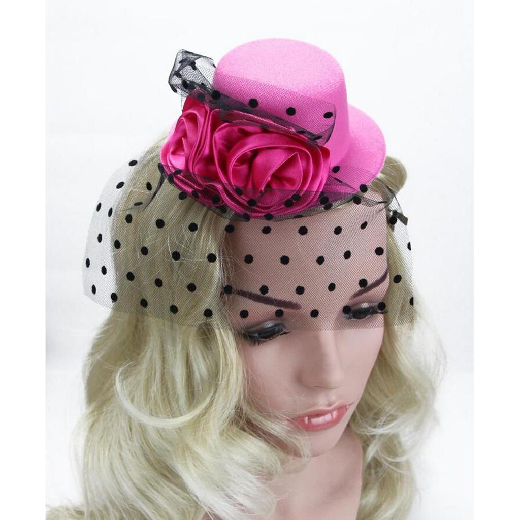 Kid-Girl-Flower-Hair-Clip-Veil-Feather-Mini-Top-Hat-Fascinator-Fancy-Party-Dress thumbnail 21