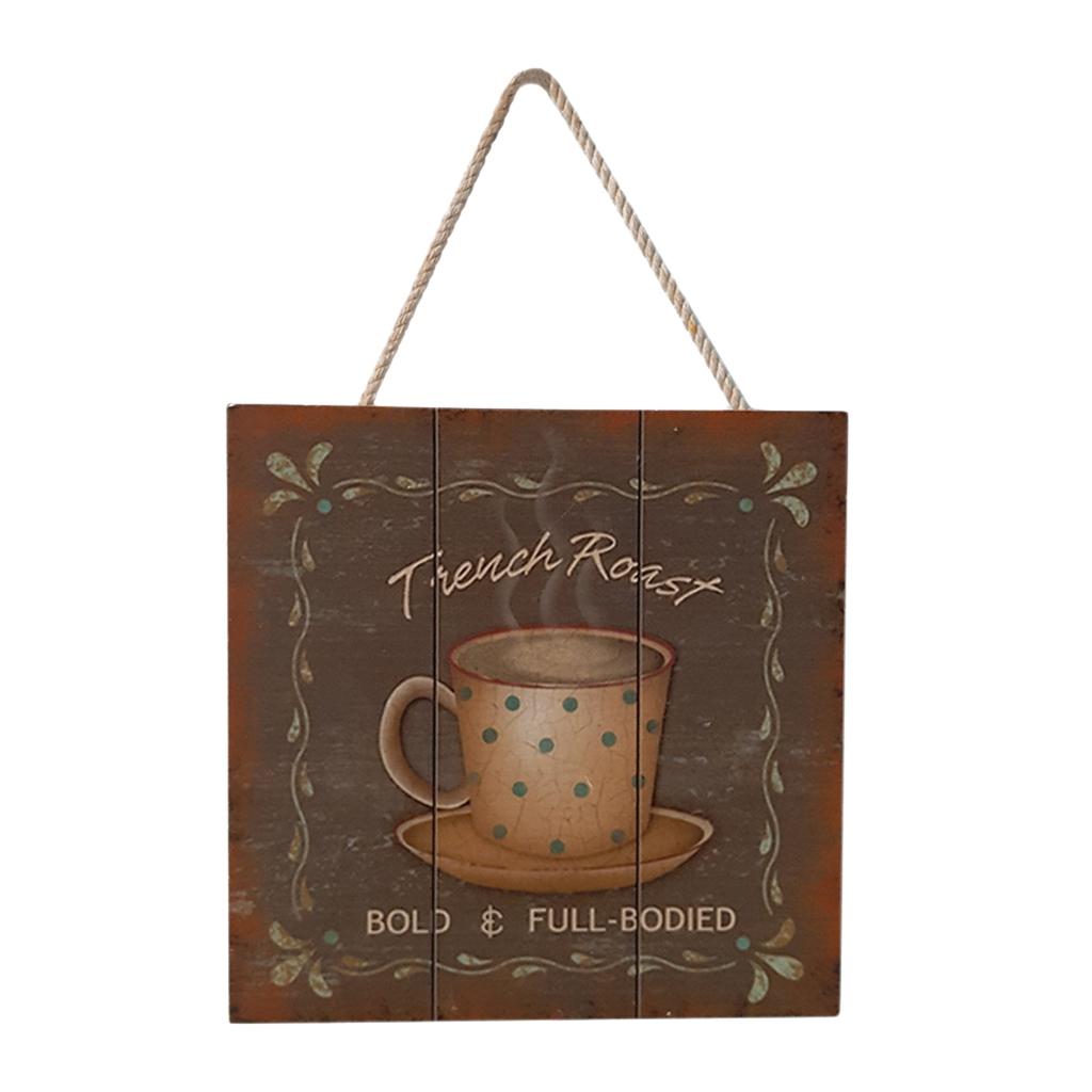 Targa-di-legno-del-segno-d-039-annata-per-la-decorazione-del-caffe miniatura 8