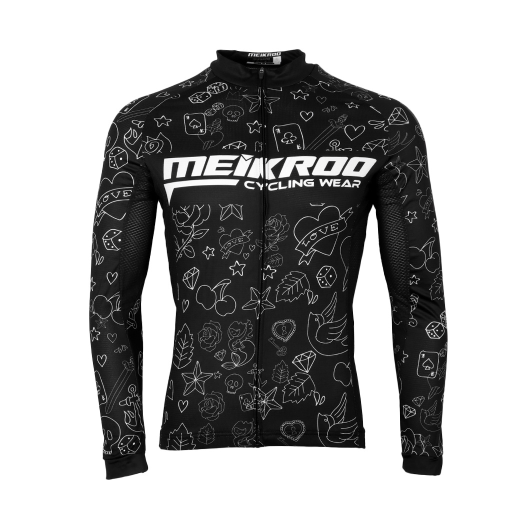 Black Polyester Long Sleeve Bike Riding Jersey Top Biking Riding Sportswear
