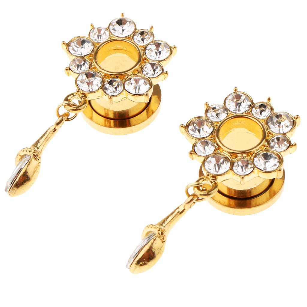 In-acciaio-inox-elegante-strass-fiore-orecchio-tunnel-ciondoli-calibri miniatura 12