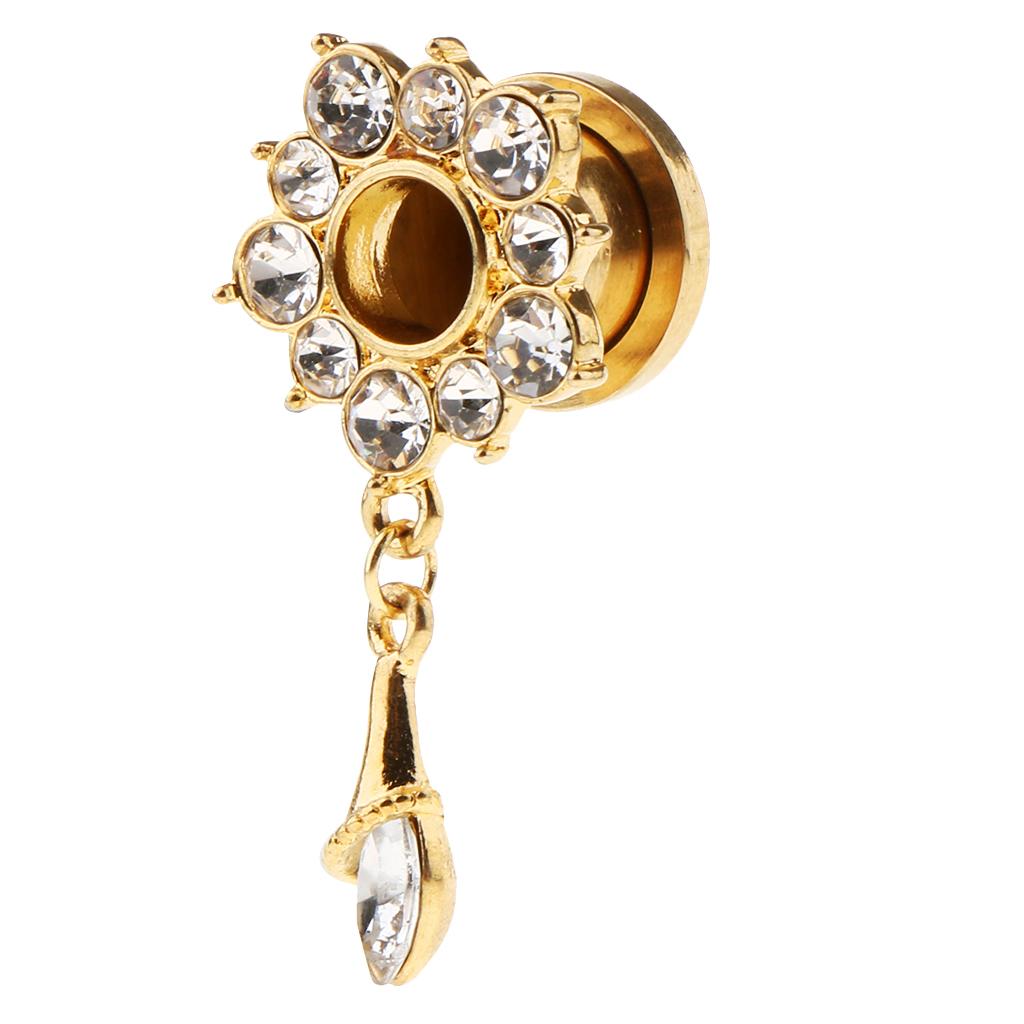 In-acciaio-inox-elegante-strass-fiore-orecchio-tunnel-ciondoli-calibri miniatura 14